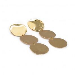 σκουλαρίκια χαλκός χειροποίητο bantouvani minimal επαργυρωμένο χρυσό μεγάλα εντυπωσιακό