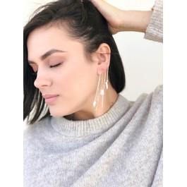 σκουλαρικια ασήμι 925 minimal κρεμαστά bantouvani silver χειροποίητο γυναικείο αλυσίδα μαργαριτάρι μικρό