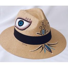 χειροποίητο καπέλο Παναμά με σχέδιο μάτι ψάθινο unisex bantouvani evil eye μάτι